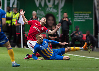 Football - 2017 / 2018 Sky Bet EFL League One - Play-Off Semi-Final, First Leg: Charlton Athletic vs. Shrewsbury Town<br /> <br /> Carlton Morris (Shrewsbury Town FC) with a late tackle on Jake Forster-Caskey (Charlton Athletic FC) at The Valley<br /> <br /> COLORSPORT/DANIEL BEARHAM
