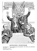 "Restrained Enthusiasm. Mr MacDonald, Mr Hoover} ""Loud cheers for disarmament! Now then, all together - Hip! Hip!..."" M Briand. ""Tres bien."" Signor Mussolini. ""Bravo!"" [Britain and USA try to sell disarmament at the London Naval Conference as they stand infront of 'Come to London and Disarm', while Mussolini looks unimpressed and Briand looks suspiciously at him]"