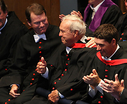 Tom Watson, Arnold Palmer and Padraig Harrington (left to right) receive honorary degrees from University of St Andrews at the University of St Andrews during day two of the preview for The Open Championship 2010 at St Andrews, Fife, Scotland.