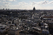 Views of the city of Paris taken from the towers of Notre Dame - this is the view of the Latin Quarter with the Pantheon in the distance