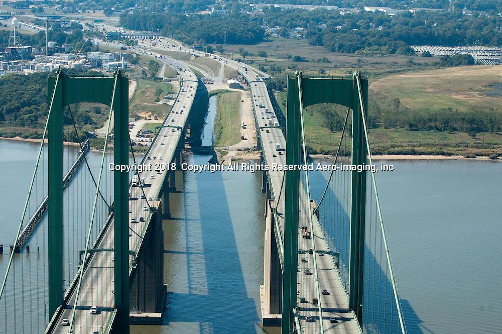 Aerial view of Delaware Memorial Bridge, New Castle Delaware