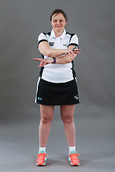 Umpire Rachael Radford signalling goal not scored