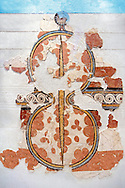 Mycenaean Fresco wall painting of a figure of eight shield. Mycenae Acropolis, Greece,  14th - 13th Century BC.  Cat No 11672  Athens Archaeological Museum. .<br /> <br /> If you prefer to buy from our ALAMY PHOTO LIBRARY  Collection visit : https://www.alamy.com/portfolio/paul-williams-funkystock/mycenaean-art-artefacts.html . Type -   Athens    - into the LOWER SEARCH WITHIN GALLERY box. Refine search by adding background colour, place, museum etc<br /> <br /> Visit our MYCENAEN ART PHOTO COLLECTIONS for more photos to download  as wall art prints https://funkystock.photoshelter.com/gallery-collection/Pictures-Images-of-Ancient-Mycenaean-Art-Artefacts-Archaeology-Sites/C0000xRC5WLQcbhQ
