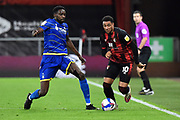 Sammy Ameobi (11) of Nottingham Forset battles for possession with Arnaut Danjuma (10) of AFC Bournemouth during the EFL Sky Bet Championship match between Bournemouth and Nottingham Forest at the Vitality Stadium, Bournemouth, England on 24 November 2020.