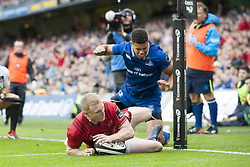October 7, 2017 - Dublin, Ireland - Keith Earls of Munster scores a try during the warm-up during the Guinness PRO14 match between Leinster Rugby and Munster Rugby at Aviva Stadium in Dublin, Ieland on October 7, 2017  (Credit Image: © Andrew Surma/NurPhoto via ZUMA Press)