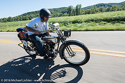 Bill Page of Kansas riding his single-cylinder 1915 Harley-Davidson class-2 motorcyle during the Motorcycle Cannonball Race of the Century. Stage-3 from Morgantown, WV to Chillicothe, OH. USA. Monday September 12, 2016. Photography ©2016 Michael Lichter.