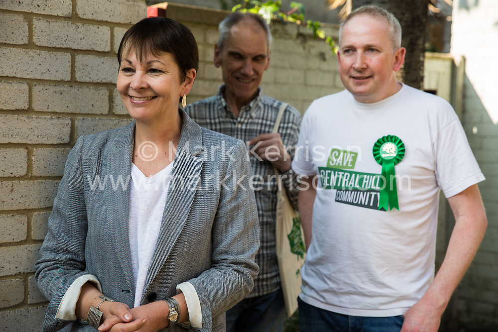London, UK. 22 May, 2019. Caroline Lucas (l), Green Party MP for Brighton Pavilion, campaigns for the European elections on the Central Hill Estate in Gipsy Hill, Lambeth, with Cllr Pete Elliott (r). After Gibraltar, Lambeth is the most pro-Remain area of the UK with 78.6% having voted Remain in 2016. There was a large swing to the Green Party in Gipsy Hill, historically a safe Labour seat, in May 2018 when Pete Elliott was elected as a Green councillor.