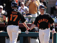 SCOTTSDALE, AZ - MARCH 09:  Aubry Huff #17 is greeted by Buster Posey #8 of the San Francisco Giants after Huff his a home run against the Chicago White Sox on March 09, 2011 at Scottsdale Stadium in Scottsdale, Arizona. The Giants defeated the White Sox 4-2. (Photo by Ron Vesely)