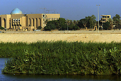 One of Saddam Hussein's palaces stands next to a lookout post for Uday Hussein along the Tigris river in Baghdad, Iraq, Sept. 29, 2003.