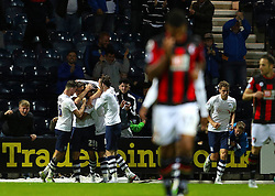 Jordan Hugill of Preston North End celebrates after scoring the equalising goal to make it 1-1- Mandatory byline: Matt McNulty/JMP - 07966386802 - 22/09/2015 - FOOTBALL - Deepdale Stadium -Preston,England - Preston North End v Bournemouth - Capital One Cup - Third Round