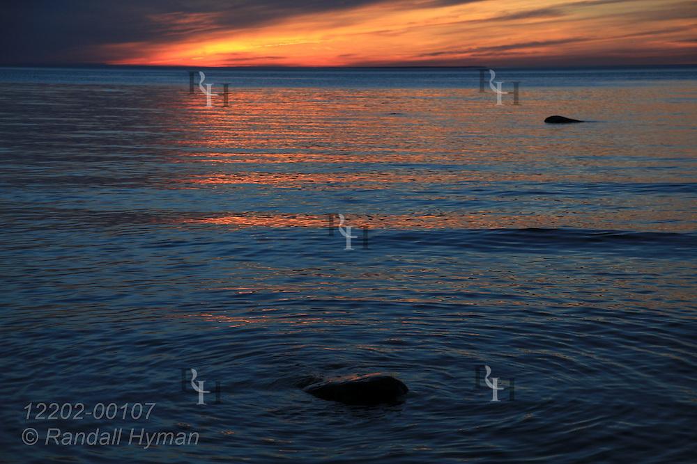Sunset at Cathead Bay on Lake Michigan at Leelanau Peninsula, Michigan.