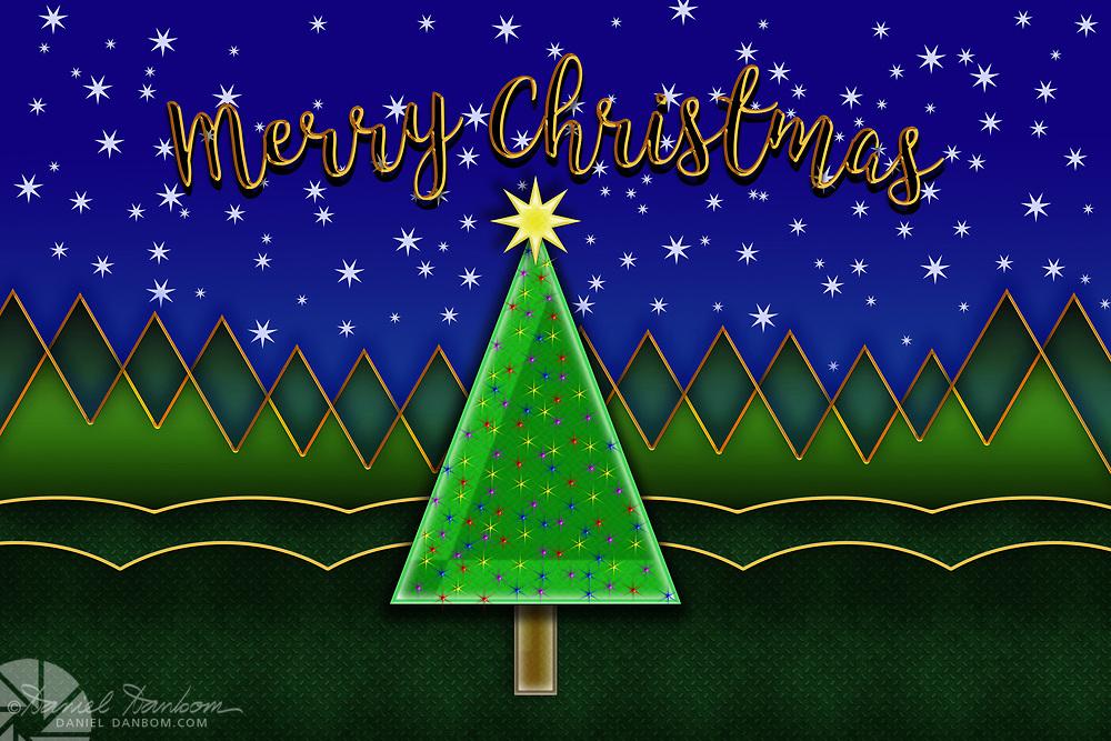 Chrsitmas Graphic Panel with abstract Christmas Tree