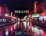 1006-F01.  Willamette St., Eugene, at night. Heilig Theatre. February 1958.