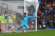 Burnley Goalkeeper Thomas Heaton tries to keep the ball from going behind for a corner. Premier league match, Burnley v Chelsea at Turf Moor in Burnley, Lancs on Sunday 12th February 2017.<br /> pic by Chris Stading, Andrew Orchard Sports Photography.
