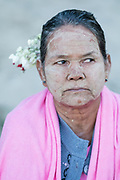 Woman's face, Gingar Village on the Ayeyarwady River, Bagan, Myanmar