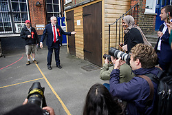 © Licensed to London News Pictures. 08/06/2017. London, UK. Leader of the Labour Party JEREMY CORBYN voting at a polling station at a school in his constituency of Islington North in London. Earlier this year British prime minister Theresa may Prime Minister Theresa May received the necessary two-thirds majority vote in parliament to call a snap election. Photo credit: Ben Cawthra/LNP