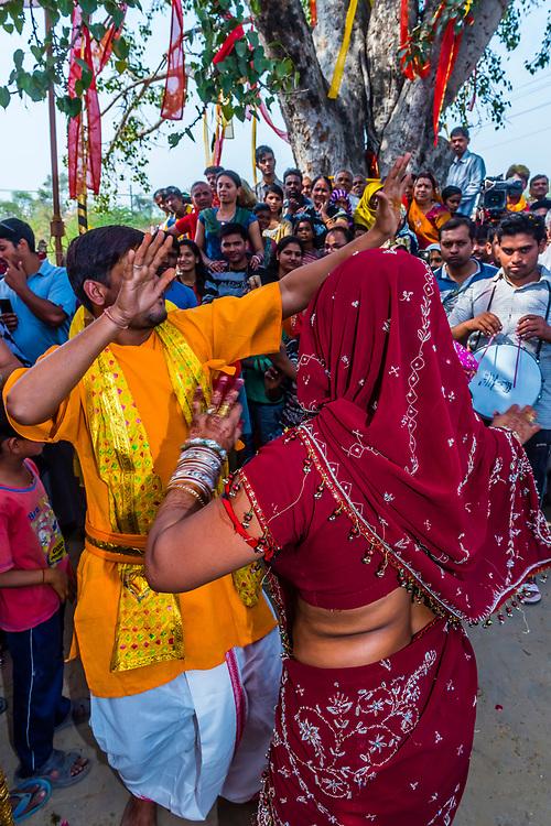 Chhadi Mar Holi (local Holi celebration), Holi Festival (Festival of Colors), village of Gokul, near Mathura, Uttar Pradesh, India.