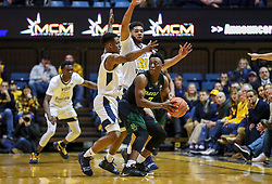 Jan 21, 2019; Morgantown, WV, USA; Baylor Bears guard Devonte Bandoo (2) is pressured by West Virginia Mountaineers guard Brandon Knapper (2) and West Virginia Mountaineers forward Esa Ahmad (23) during the second half at WVU Coliseum. Mandatory Credit: Ben Queen-USA TODAY Sports