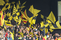 Watford fans during the Premier League match at Vicarage Road, Watford.
