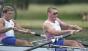 Hampton Court Palace, Hampton Middx, The Long Lake, <br /> Photo Peter Spurrier.<br /> Card No. <br /> <br /> <br /> James Cracknell (L) and Matthew Pinsent, applies the power to the opening strokes of the pairs race at  'Supersprints' held on the 'Long Lake' at 'Hampton Court Palace. [Mandatory Credit;Peter SPURRIER;Intersport Images] 20010702 Supersprints, Hampton Court Palace, Surrey UK