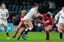 Marlie Packer of England takes on the Canada defence - Mandatory byline: Patrick Khachfe/JMP - 07966 386802 - 26/11/2016 - RUGBY UNION - Twickenham Stadium - London, England - England Women v Canada Women - Old Mutual Wealth Series.