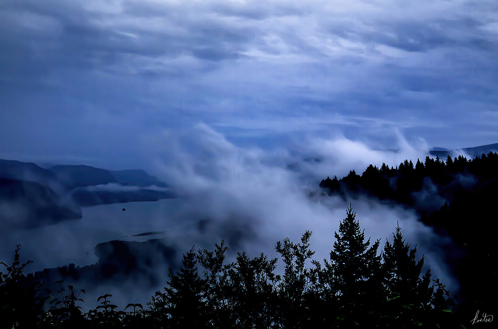 Overlooking the Columbia River Gorge on a very cloudy, stormy day, very dramatic.