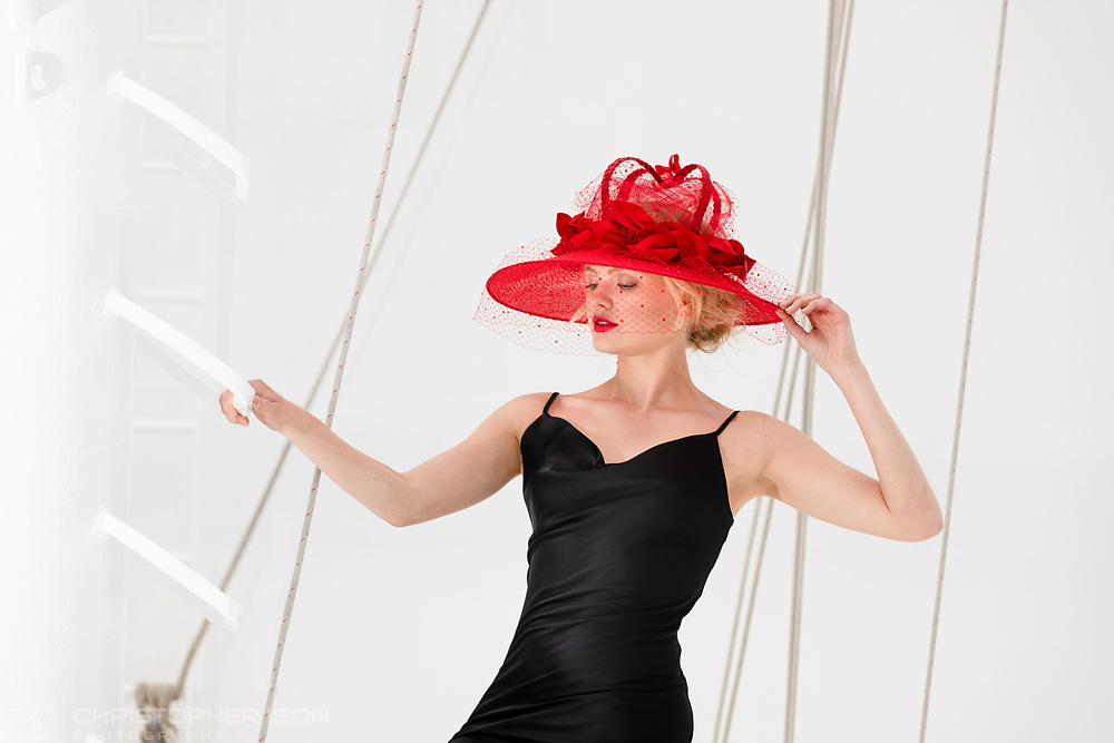 **EDITORIAL FREE TO USE IMAGE RELEASED UNDER EMBARGO – NOT FOR PUBLICATION BEFORE 00:01 THURSDAY 30TH JUNE; 2019**<br /> <br /> A HAT FIT FOR A QUEEN<br /> <br /> With hat season fast approaching, luxury cruise line Cunard and legendary milliner, Stephen Jones OBE have collaborated to create a stunning millinery masterpiece that has been unveiled on board Cunard's magnificent flagship, Queen Mary 2 today.<br /> <br /> Stephen, who has designed for royalty, including Princess Diana, Princess Eugenie and the Duchess of Sussex, has drawn his design inspiration for the hat from Cunard's rich heritage and the emotive experience that sailing across the Atlantic on board the luxury ocean liner QM2, gives you, but it would be equally suitable worn for a state visit.<br /> <br /> Stephen will headline Cunard's annual Transatlantic Fashion Week which departs New York on the 28 July, arriving in to Southampton seven days later. The hat will form part of Stephen's glittering runway shows on board. During the voyage Stephen will also be taking guests through his distinguished career via a series of talks and Q&As. Stephen will be joined during the fashion week by some other celebrated names in fashion including Stuart Weitzman, Hilary Alexander OBE and Lindy Woodhead.<br /> <br /> For more information about Cunard's Transatlantic Fashion Week at sea, contact Cunard Public Relations - <br /> Rachel Lloyd, rachel.lloyd@cunard.co.uk, Tel: 07773039895<br /> Ruth Harrington, ruth.harrington@cunard.co.uk, Tel: 07814764266<br /> <br /> Picture by Christopher Ison. Contact +447544 044177 chris@christopherison.com