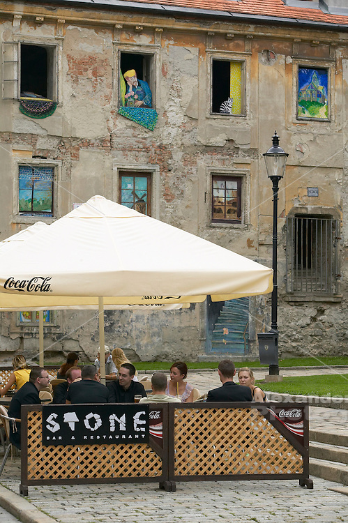 Europe, Slovakia, capitol city - Bratislava, out door cafe in old city center on Panska next to St. Martin Cathedral.