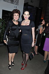 Left to right, RUBY WAX and   at a party to celebrate the publication of Joseph Anton by Sir Salman Rushdie held at The Collection, 264 Brompton Road, London SW3 on 14th September 2012.