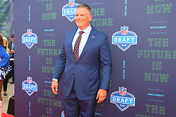 April 26, 2018 - Arlington, TX, U.S. - ARLINGTON, TX - APRIL 26:  Virginia Tech head football coach Justin Fuente  on the Red Carpet prior to the 2018 NFL Draft at AT&T Statium on April 26, 2018 at AT&T Stadium in Arlington Texas.  (Photo by Rich Graessle/Icon Sportswire) (Credit Image: © Rich Graessle/Icon SMI via ZUMA Press)