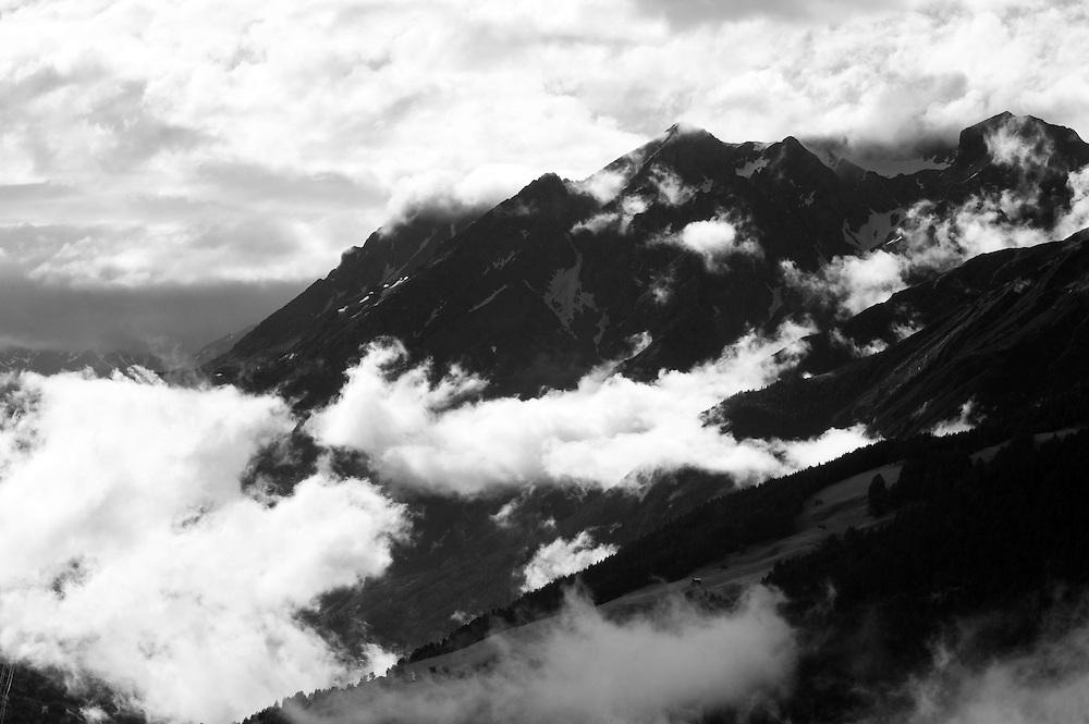 IFTE-NB-007633; Niall Benvie; View into the valley around Fliess from Kaunergrat visitor's centre; Austria; Europe; Tirol; horizontal; grey blue; forest woodland; 2008; July; summer; fog mist rain cloud; Wild Wonders of Europe Naturpark Kaunergrat