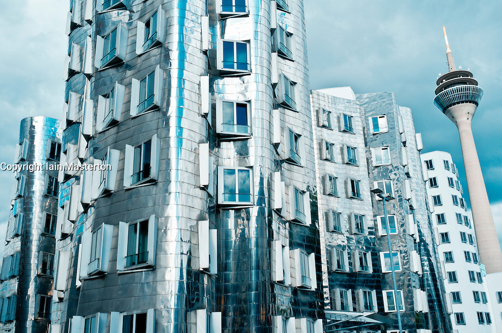 The Neuer Zollhof building at the Medienhafen, Dusseldorf, Germany Architect Frank Gehry