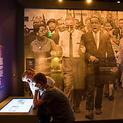 Visitors to a civil rights exhibit at the Smithsonian Museum of American History in Washington DC.