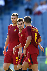 September 23, 2017 - Rome, Italy - Stephan El Shaarawy with Edin Dzeko and Kevin Strootman of Roma celebration during the Italian Serie A football match between AS Roma and Udinese on September 23, 2017 at the Olympic stadium in Rome. (Credit Image: © Matteo Ciambelli/NurPhoto via ZUMA Press)