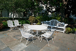 High Resolution view of the sitting area in the Rose Garden of the White House in Washington, DC, USA, on Tuesday, August 22, 2017. Photo by Ron Sachs/CNP/ABACAPRESS.COM
