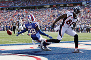 Buffalo Bills cornerback E.J. Gaines (28) leaps and breaks up and nearly intercepts an end zone pass intended for Denver Broncos wide receiver Demaryius Thomas (88) in the third quarter during the 2017 NFL week 3 regular season football game against the against the Denver Broncos, Sunday, Sept. 24, 2017 in Orchard Park, N.Y. The Bills won the game 26-16. (©Paul Anthony Spinelli)