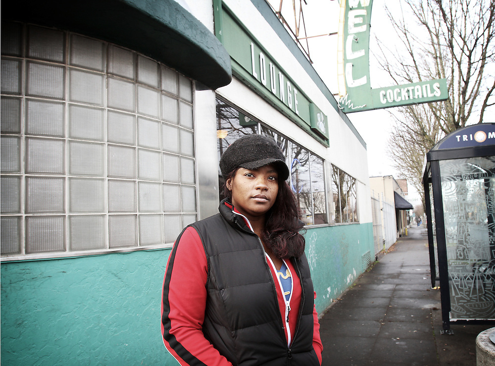 """""""I'm strong, now. I can do this."""" Dawnyell, a recovering crack addict, returns for the first time to the Portland bar where she used to buy hard drugs. Photographed Dec. 18, 2011."""