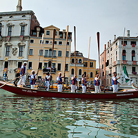 VENICE, ITALY - SEPTEMBER 05:  A team of rowers lift the oars  as a salute during theHistoric Regata on September 5, 2010 in Venice, Italy. The Historic Regata is the most exciting rowing race on the Gran Canal for the locals and one of the most spectacular. ***Agreed Fee's Apply To All Image Use***.Marco Secchi /Xianpix. tel +44 (0) 207 1939846. e-mail ms@msecchi.com .www.marcosecchi.com