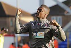 Rotherham United's goalscorer Kieran Agard celebrates the victory at full-time - Photo mandatory by-line: Joe Dent/JMP - Mobile: 07966 386802 22/03/2014 - SPORT - FOOTBALL - Peterborough - London Road Stadium - Peterborough United v Rotherham United - Sky Bet League One