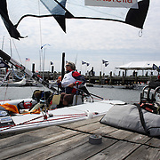 Skipper Sarah Everhart Skeels, Tiverton, RI, (pictured), prepares to sail with  Cindy Walker, Middletown, RI, the only all female team competing in The Skud 18 class, preparing for competition during the C. Thomas Clagett, Jr. Memorial Clinic & Regatta at Newport, Rhode Island hosted by Sail Newport at Fort Adams. <br /> The Clagett is North America's premier event for sailors with disabilities with sailors competing in the 3 Paralympic class boats and is an integral part of preparation for athletes preparing for  Paralympic and world championship racing. Newport, Rhode Island, USA. 26th June 2015. Photo Tim Clayton