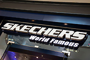 Sign for the clothing brand and trainer shop Skechers in Birmingham, United Kingdom.