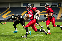 East Kilbride Pirates in action - Mandatory by-line: Jason Brown/JMP - 27/08/2016 - AMERICAN FOOTBALL - Sixways Stadium - Worcester, England - Kent Exiles v East Kilbride Pirates - BAFA Britbowl Finals Day