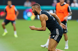 July 30, 2018 - Miami Gardens, Florida, USA - Real Madrid C.F. forward Karim Mostafa Benzema in action during an open training session for the International Champions Cup match between Real Madrid C.F. and Manchester United F.C. at the Hard Rock Stadium in Miami Gardens, Florida. (Credit Image: © Mario Houben via ZUMA Wire)