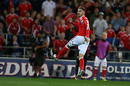 Aaron Ramsey of Wales jumps as he watches his shot at goal go wide.  Wales v Austria , FIFA World Cup qualifier , European group D match at the Cardiff city Stadium in Cardiff , South Wales on Saturday 2nd September 2017. pic by Andrew Orchard, Andrew Orchard sports photography