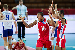 11.09.2014, Centennial Hall, Breslau, POL, FIVB WM, Kuba vs Russland, Gruppe F, im Bild Isbel Mesa Sandoval cuba #16 // Isbel Mesa Sandoval cuba #16 gladness during the FIVB Volleyball Men's World Championships 2nd Round Pool F Match beween Cuba and Russia at the Centennial Hall in Breslau, Poland on 2014/09/11. EXPA Pictures © 2014, PhotoCredit: EXPA/ Newspix/ Sebastian Borowski<br /> <br /> *****ATTENTION - for AUT, SLO, CRO, SRB, BIH, MAZ, TUR, SUI, SWE only*****