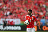 Neil Taylor of Wales in action. Euro 2016, Wales v Slovakia at Matmut Atlantique , Nouveau Stade de Bordeaux  in Bordeaux, France on Saturday 11th June 2016, pic by  Andrew Orchard, Andrew Orchard sports photography.