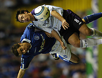 Photo: Richard Lane.Digitalsport<br /> Birmingham City v Manchester City. FA Barclays Premiership. 24/08/2004.<br /> Robbie Fowler is challenged by Muzzt Izzet.