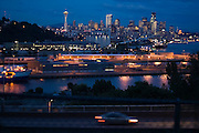 The downtown skyline at night in Seattle, Washington.