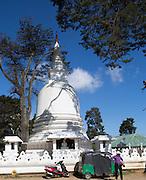 Buddhist temple white stupa, Nuwara Eliya, Sri Lanka, Asia