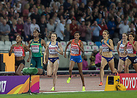 Athletics - 2017 IAAF London World Athletics Championships - Day Three, Evening Session<br /> <br /> Womens 1500m Final <br /> <br /> The leading contenders come down the home straight.  Jennifer Simpson (United States) finishes in the silver medal position at the London Stadium<br /> <br /> COLORSPORT/DANIEL BEARHAM